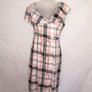 Quaint One Shoulder Pink Navy Plaid Dress